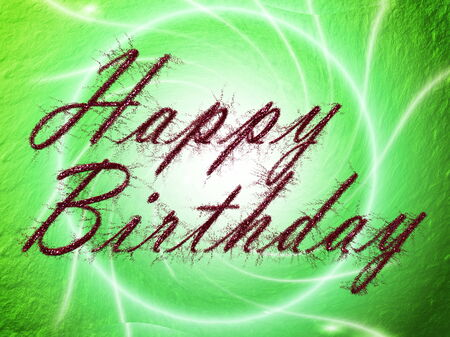 embers: written letters,text,color happy birthday card Stock Photo