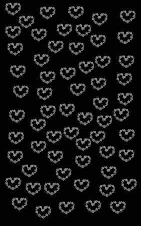 lots: lots of small hearts digitally painted into a modern pattern