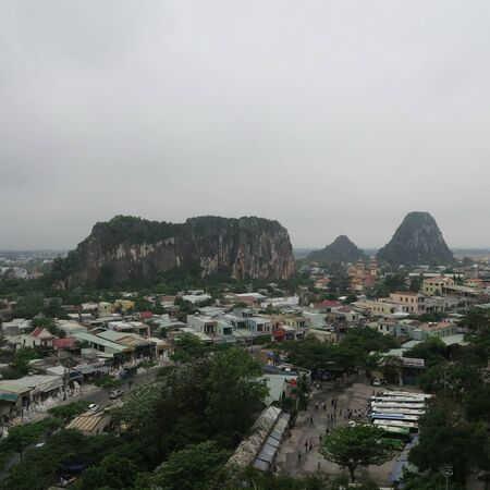 """from above houses at the """"marble mountains"""" at Da Nang and Hoi An, central Vietnam, March 2019"""