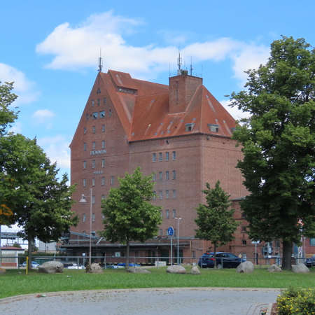 the old granary, brick building in the hanseatic city of demmin, mecklenburg-west pomerania, east germany, north germany in june 2020