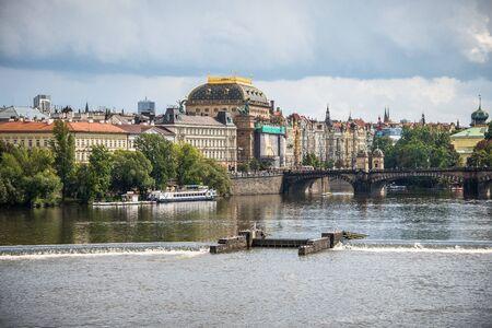 carl: Prague, Landmark of National Theater and Vlatava river