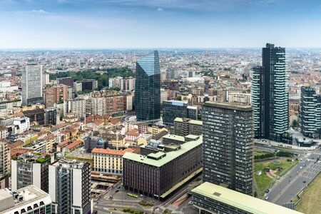 frenetic: skyline urban city top view of Milan