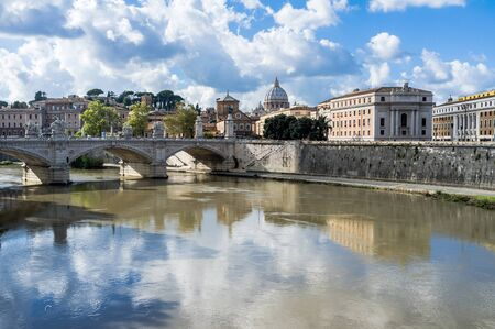 tevere: Rome, along the Tevere riverside. On background Vatican City. Stock Photo