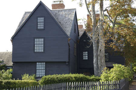 American wooden cottage on coastline of Salem, Mass