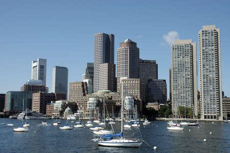 Boston skylines and sailboats on Charles river, Boston Mass Stock Photo