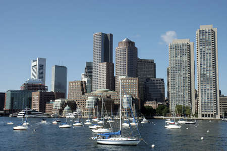skylines: Boston skylines and sailboats on Charles river, Boston Mass Stock Photo