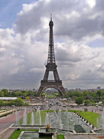 View of Tour Eiffel and Champ de Mars fountains