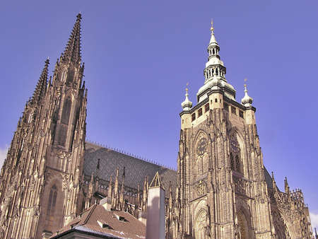 Eastern side of cathedral St Vitus, Prague, Czech Republic Stock Photo