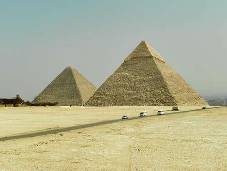 Close view of Gisa  Pyramids  (Giseh) around- 2500 years (B.C) overlooking Cairo Stock Photo