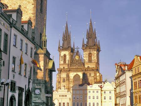 tyn: Church of Our Lady Before Tyn  as seen from the western side, Prague, Czech Republic