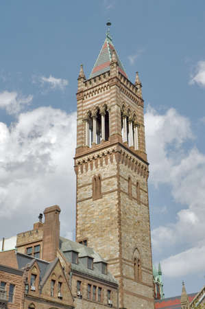 spires: The Soaring spires of the New Old South Church, gothic style in Boston Mass Stock Photo