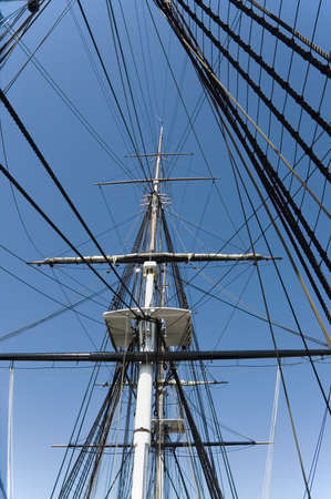 spar:  Masts and rigging of a historic war ship,Boston, Mass
