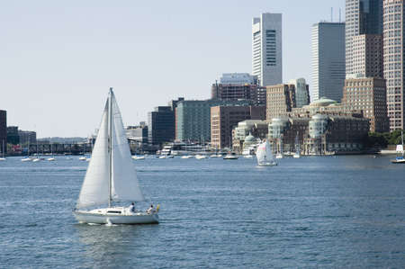 st charles: Saili boats on St Charles River and skylines on background, Boston, Mass