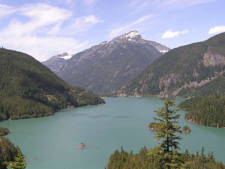 Turquoise waters of Diablo lake. North Cascades National Park, Washington Pass, USA