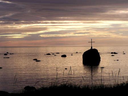 Sunrive over memorial place of Pointe aux Anglais, Quebec