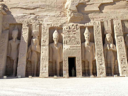 reign: Hathor Temple in Abu Simbel consecrate  from Ramses II to honour his most love wife Nefertari, Egypt, Africa Stock Photo