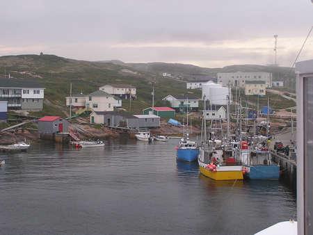 laurence: Fishermen village on coastline of St Laurence River, Harrington Harbour, Quebec Stock Photo