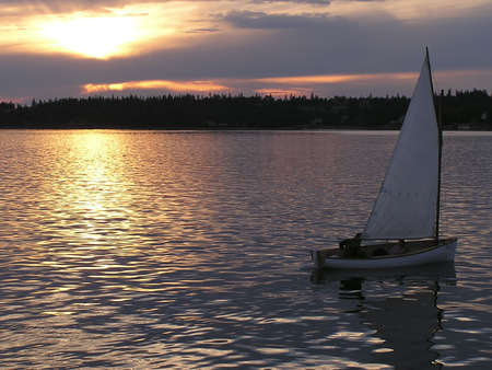 Sailing at sunset in St Andrews by the sea, New Brunswich, Canada Stock Photo - 311774