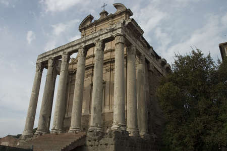 Front view of the Roman Forum columns, Rome, Italy photo