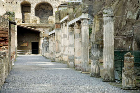 scenary: Detail of Herculaneum Excavations, ruins from the vulcano eruption, Naples, Italy