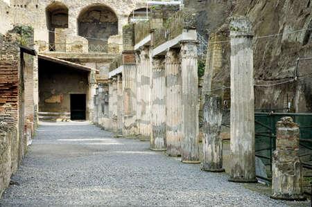 vulcano: Detail of Herculaneum Excavations, ruins from the vulcano eruption, Naples, Italy