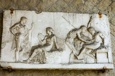 vulcano: Herculanum  fresco. Ruins from the vulcano eruption in Herculanum or Ercolano, Naples, Italy