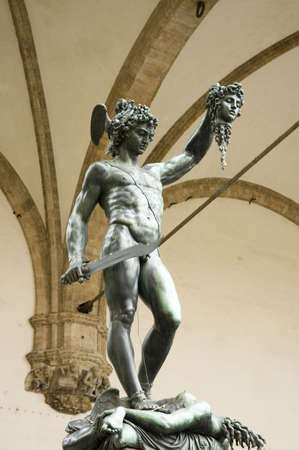 bronze statue of Perseus holding the head of  Medusa,Florence, Italy photo