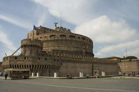 angelo: Castel San Angelo or Saint Angelo Castle, Rome, Italy and tourists around taking a rest