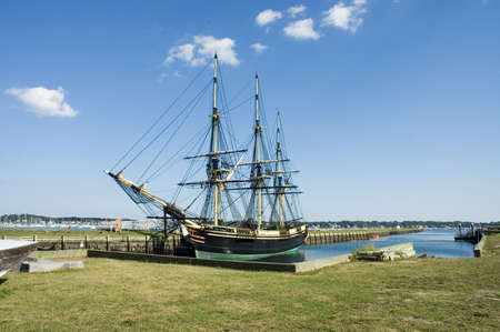 Historic ship named Three-masted Friendship anchored  in Salem harbor, Mass Reklamní fotografie - 454091