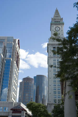Skyscrapers near the clock tower of Boston, Massachusetts Stock Photo - 460086