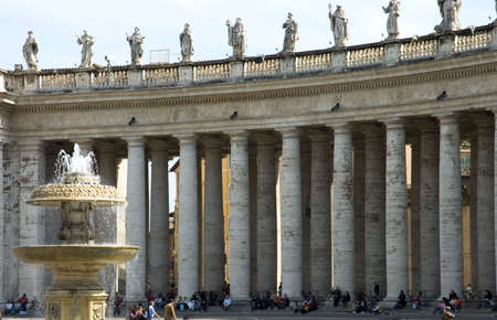 st  peter s square: Close view of St Peter s Square, Vatican, with tourists around - non recognizable person -