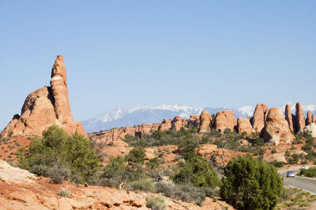 scenic view of The Parade of Elephants rocks  in  Arches National Park,  Utah, USA