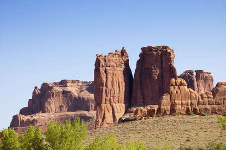 The Organ rocks  of Arches National,  Utah, USA. Focus on first row of rocks gave a three dimension perspective. Stock Photo - 568399