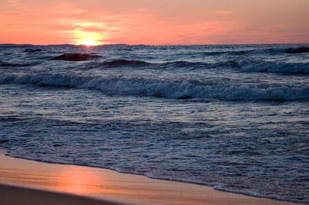 Twilight time at Superior Lake in Michigan, USA - beautiful background