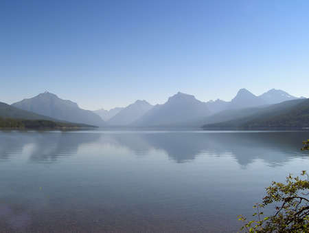 Misty  MacDonald lake on early morning  in West Glacier national Park, Montana, USA