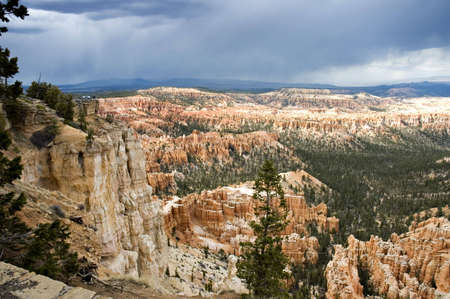 Scenic snowy view at  Bryce Point in  Bryce Canyon National Park, Utah, USA photo