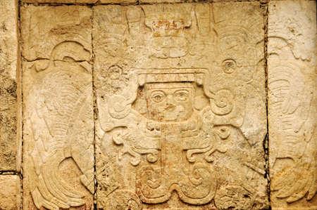 details of Maya glyphs in a sculpture in Chichen Itza, Yucatan,Mexico