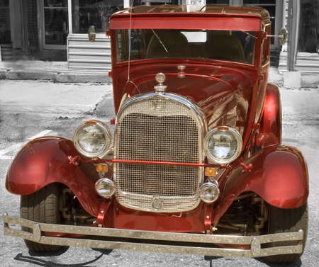 Red shinning American Vintage 1930  car renewed and polish   Stock Photo