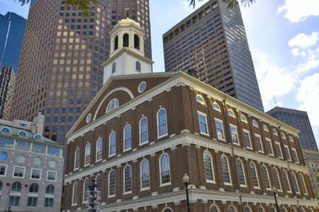 Old building of Faneuil hall, Boston Massachusetts, vibrand contrast with the modern buildings in background