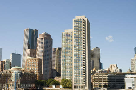 Close view of Boston skylines take from Charles river, Boston Massachusetts