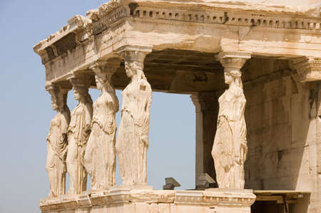 Female statues serve as columns on Porch of the Caryatids on the Acropolis, Athens,UNESCO World Heritage Site
