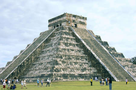 mayan calendar:  El Castillo, main Pyramid of Chichen Itza, Mexico. The four sides of 91 stairs are the origin of Mayan Calendar. Stock Photo