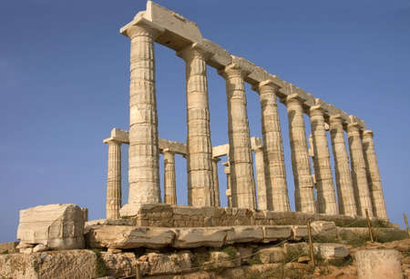 side view of the Greek temple  of Poseido god of the sea  in Cape Sounion , Greece Stock Photo