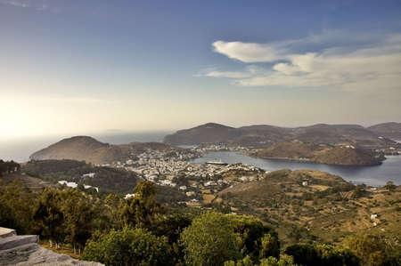 Patmos Island, the Aegean Sea, and the harbour of Skala, Greece