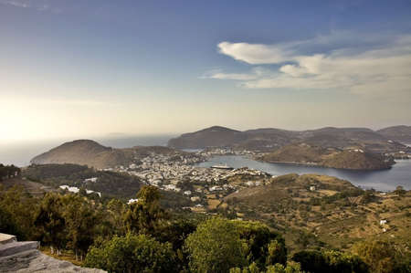 Patmos Island, the Aegean Sea, and the harbour of Skala, Greece