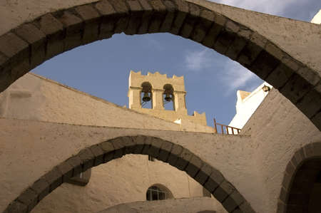 Bell tower of the Monastery St John the Theologian in Patmos island, Greece, Unesco World Heritage Site