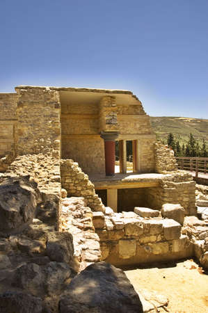 Part of the South side of Knossos Palace site in  Crete Island, Greece