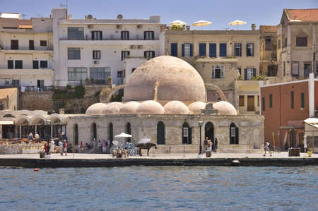 Old mosque in the port of Chania, Crete island, Greece