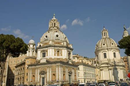 The beautiful domes of the 16th century churches  S. Maria di Loreto and S. Maria di Loreto in Venezia Square, Rome, Italy