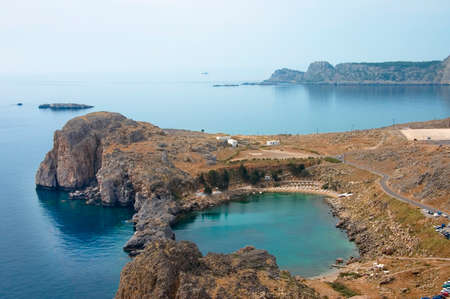 aegean: Scenic view over St. Paul  Bay and the Aegean sea, Lindos, Greece Stock Photo